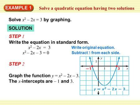 Example 1 Solve A Quadratic Equation Having Two Solutions Solve X