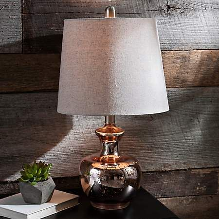 Product Details Rose Gold Mercury Glass Table Lamp New