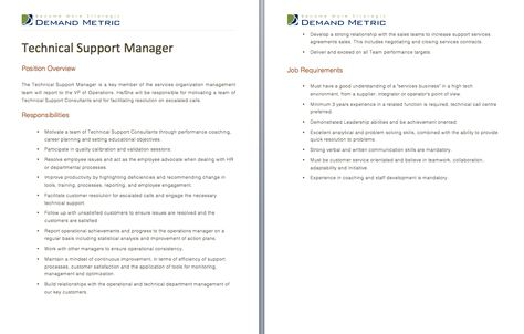 Technical Support Manager Job Description - A template to quickly - logistics job description