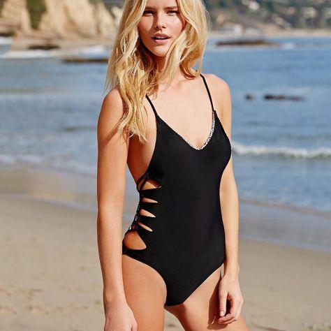 404b1a9fb6 2017 New Black White One Piece Swimsuit Sexy Cut Out Bandage Swimwear Women  Bathing Suits. Item Type: One PiecesSport Type: SwimGender: WomenPattern  Type: ...