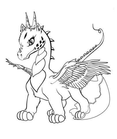 Lonely Little Dragon Kids Printable Coloring Page Free Fantasy - best of coloring pages of ice dragons