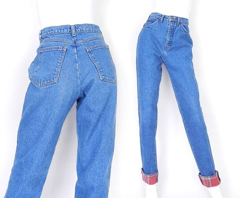 c9305be1 Vintage 80s 90s High Waisted Flannel Lined Jeans - Size 6 - Women's Stone  Washed Tapered Leg Cozy Red Plaid Lining Mom Jeans