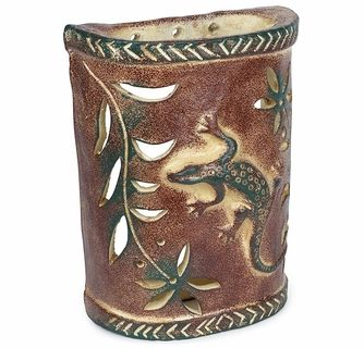 Gecko Lizard Southwest Painted Clay Wall Sconce In 2020