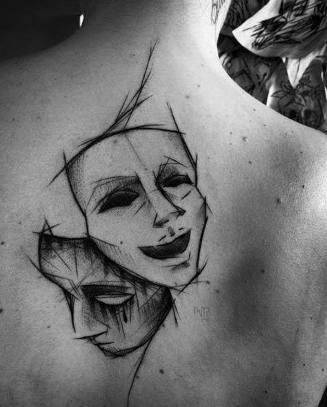 Theatre Mask Sketch Style Tattoo by Inez Janiak