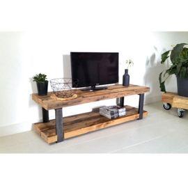 In De Serie Timber Past Ook Dit Tv Meubel Prachtig Gemaakt Van Robuust Oude Plafondbalken Met Een St Tv Stand Decor Living Room Living Room Tv Stand Furniture