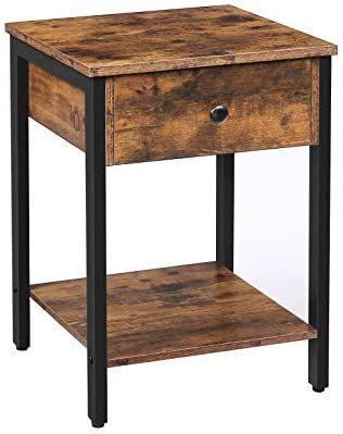 Amazon Com Hoobro Nightstand 2 Tier End Table Industrial Side Table With Drawer And Storage S In 2020 Side Table With Drawer Industrial Side Table Wood Accent Table
