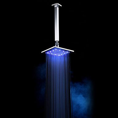 Chrome Finish Brass 10-inch 3 Color Changing LED Square Ceiling Shower Head – AUD $ 100.07