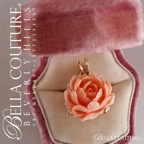BELLA COUTURE ® - SALE PENDING! (ANTIQUE) Rare Victorian Gorgeous Coral Carved Rose Flower 14K Yellow Gold Necklace Charm Pendant - Fine Jewelry (One of a Kind), $248.00 (http://www.bellacouture.com/sale-pending-antique-rare-victorian-gorgeous-coral-carved-rose-flower-14k-yellow-gold-necklace-charm-pendant-fine-jewelry-one-of-a-kind/)
