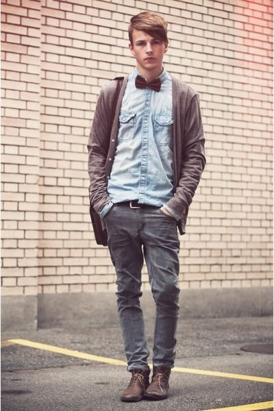 Bow Tie Over Denim Brighterman Tie H Shirt American Apparel Cardigan Mensoutfits Vintage Clothing Men Hipster Mens Fashion Mens Fashion Edgy