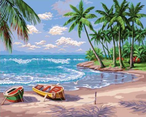 21 Pemandangan Di Tepi Laut Lukisan Lukisan Pokok Kelapa Di Tepi Pantai Cikimm Com Download Pem Beach Painting Easy Beach Painting Abstract Beach Painting