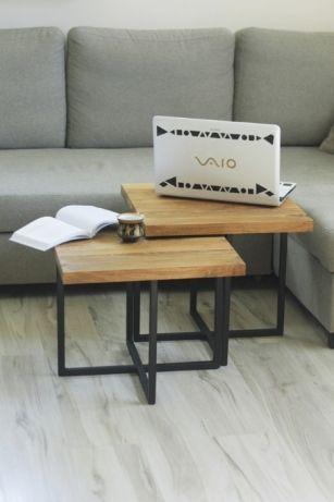 2 X Stolik Kawowy Dąb Rustykalny Design Drewniany Metal