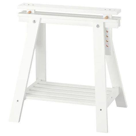 Finnvard Treteau Avec Etagere Blanc 70x71 93 Cm Ikea Idees Etageres Et Mobilier De Salon