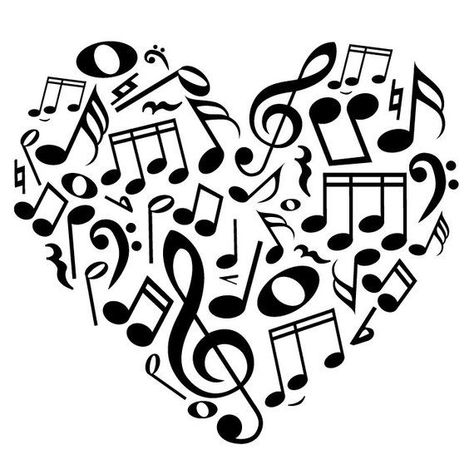 Music Icons Notes and Symbols Heart – Wall Decal Custom Vinyl Art Stickers