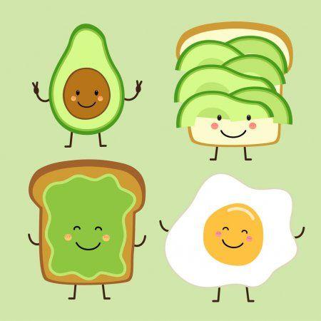 Cute Hand Drawn Cartoon Characters Of Avocado Toast And Egg Stock Vect Sponsored Cartoon Characters Dr How To Draw Hands Cartoon Characters Cartoon