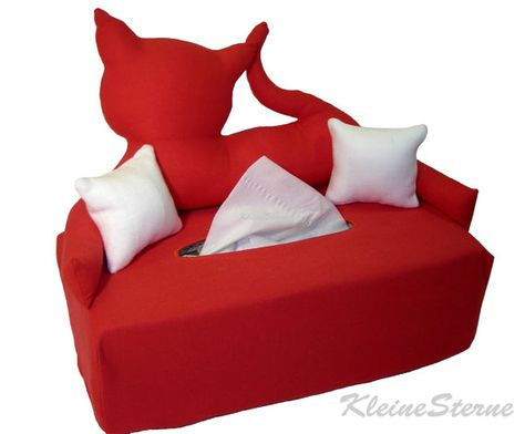 Red Cat Handkerchief Sofa Cosmetic Box Upholstery Tissue Boxes