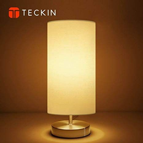 Bedside Table Lamp Teckin Minimalist Fabric Desk Lamp Metal Nightstand Lamp With Fabric Shade For Bedroom Living Room Nachttischlampe Lampentisch Led Birnen