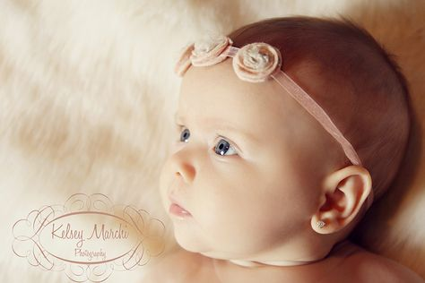 3 month old baby girl. Headband and fur by FAAS design.