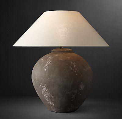 Dutch Ceramic Vessel Table Lamp Olive Jar Interior