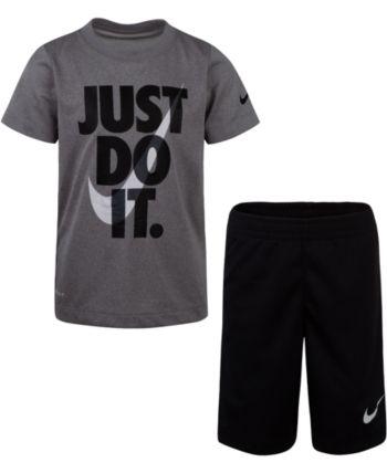 Nike Toddler Boy 2 Piece T-Shirt /& Shorts Set ~ Gray Red /& White ~ Just Do It ~