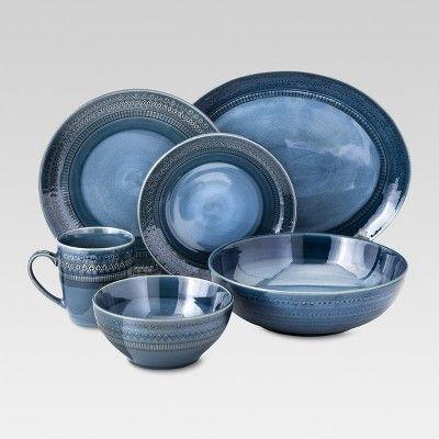 Kingsland 16pc Dinnerware Set Blue Threshold Target With