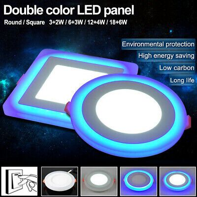Sponsored Link Dual Color Led Ceiling Light Recessed Panel Downlight Spot Lamp Round Square A4 In 2020 Recessed Ceiling Led Ceiling Lights Led Color