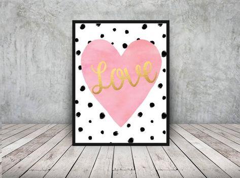 Heart Pink Heart Home Decor Watercolor Gold Love Nursery Art Printable 16x20 Crib Wall Art Romantic In 2020 Baby Girl Nursery Decor Baby Boy Nursery Decor Nursery Decor