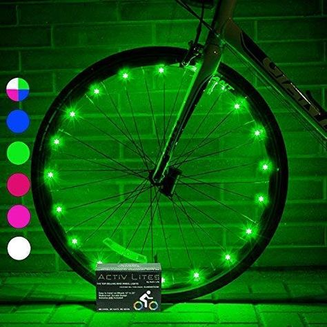 Activ Life LED Wheel Lights (1 Tire, Green) Fun Bicycle Spoke Wire & Bike Frame Safety String Lights - Best Wheelchair & Top Baby Stroller Accessory for Men, Women, Children and Popular Teens  #Discount #Deals #Amazon #Shop #Trends