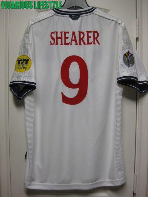 6901b9518fad SHEARER  9 England Euro 2000 Short-Sleeves Home Shirt Jersey XL (eBay Link)