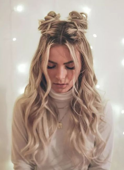 Cute Hairstyles For Teens, Super Easy Hairstyles, Holiday Hairstyles, Teen Hairstyles, Pretty Hairstyles, Hairstyle Ideas, Hairstyles Tumblr, School Hairstyles For Teens, 2 Buns Hairstyle