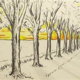 One Point Perspective Drawing Trees 1 Point Perspective Perspective Drawing One Point Perspective
