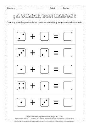 FICHAS DE EDUCACIÓN PREESCOLAR: EJERCICIOS DE SUMAS CON DADOS ...