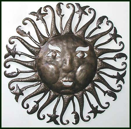 "Handcut Haitian Sun Design - Celestial Steel Drum Art Wall Decor - 24"" - $84.95 -  Steel Drum Metal Art from  Haiti - Interior or Garden Décor   * Found at  www.HaitiMetalArt.com"