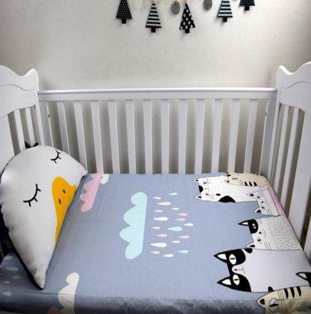 Hand Made Custom Cartoon Cats Cotton Baby Bedding Sets Baby Bedding Sets Fitted Bed Sheets Cotton Baby Bedding