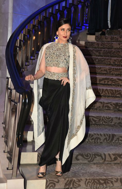 Showstopper Kareen Kapoor in black and cream outfit walks the ramp for Anamika Khanna's Sculpt collection at Lakme Fashion Week Summer Resort 2015