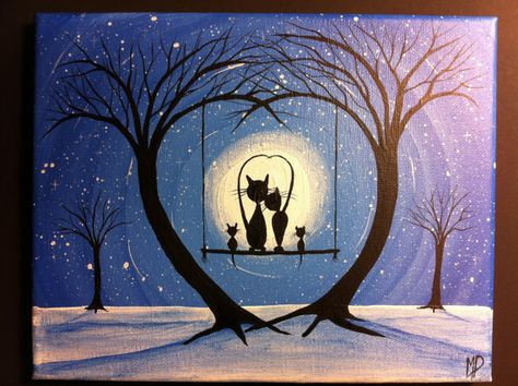 Original Whimsical Cat PaintingMy Love  8 x 10 by MichaelHProsper, $43.00