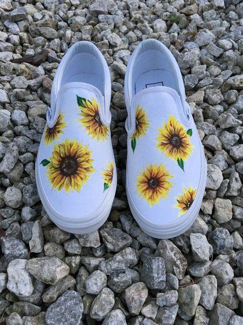 Custom Hand-painted Sunflower Vans Slip-On Shoes