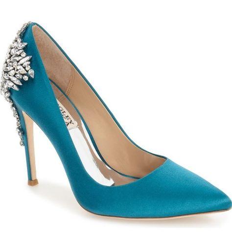 Teal Satin - Something Blue Wedding Shoes - Photos