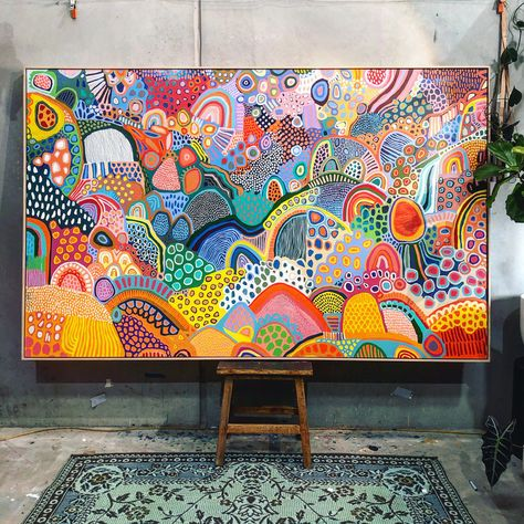 Painting Inspiration, Art Inspo, Colorful Paintings, Colorful Abstract Art, Colourful Art, Diy Canvas Art, Canvas Artwork, Aboriginal Art, Amazing Art