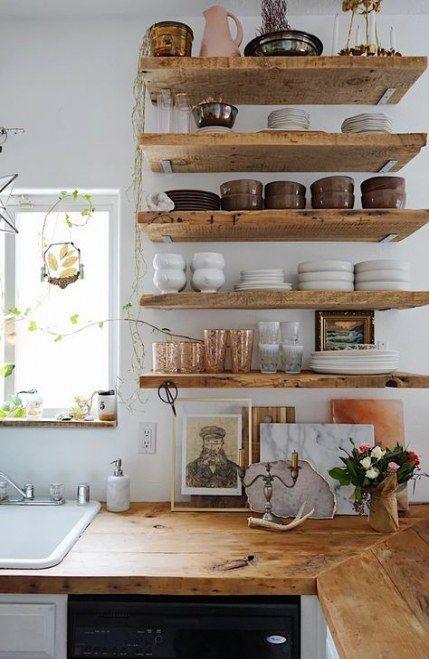 27 Ideas Kitchen Cottage Rustic Open Shelves Kitchen Rustic
