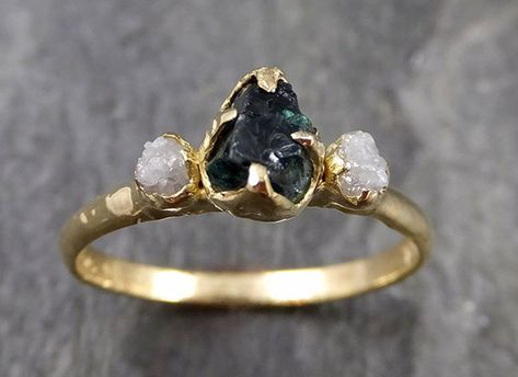 Raw Stone Engagement Rings, Dream Engagement Rings, Rose Gold Engagement Ring, Unconventional Engagement Rings, Different Engagement Rings, Halo Engagement, Blue Wedding Rings, Diamond Wedding Bands, Hippie Wedding Ring