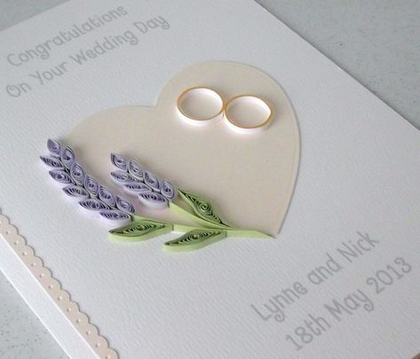 Wedding card handmade personalized quilled wedding day
