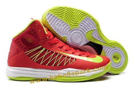 huge discount 24119 68c0a Nike Lunar Hyperdunk 2013 Sport Red Neon Green Mens Basketball Shoes Onlin