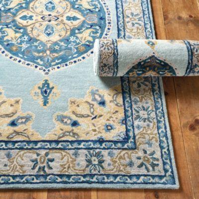 Adara Hand Tufted Oushak Style Blue Area Rug Hand Tufted Rugs Blue Area Rugs Wool Area Rugs