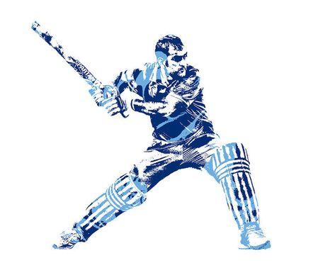 Ms Dhoni International Cricket Player Pixel Art 2 Art Print