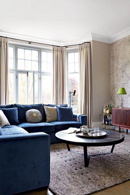 Buy Henry L Shape Left Aligned Corner Sofa Velvet Indigo Blue Online In India Get Woode In 2020 Living Room Sofa Design L Shaped Sofa Designs Latest Sofa Designs