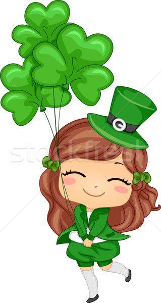 Clover Lucky Love Luck Hope Faith Peace Flower Leprechaun Girl Leprechaun Clipart Saint Patricks Day Art