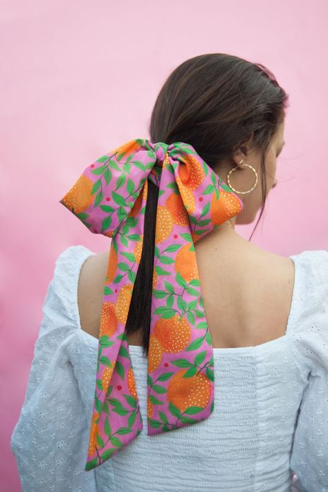 "Orange garden"" print hair scarf / Infinity colourful multipurpose  scarf"