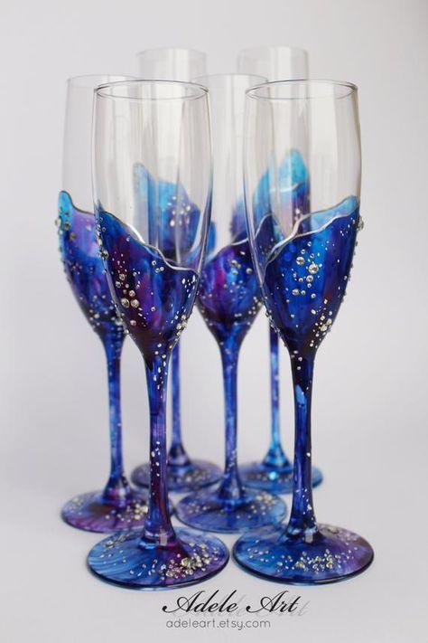 Champagne Wedding Flutes Set of 2 Wedding glasses Bride and