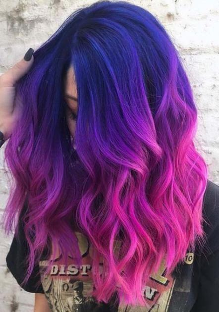Haare blau lila Lila Haare