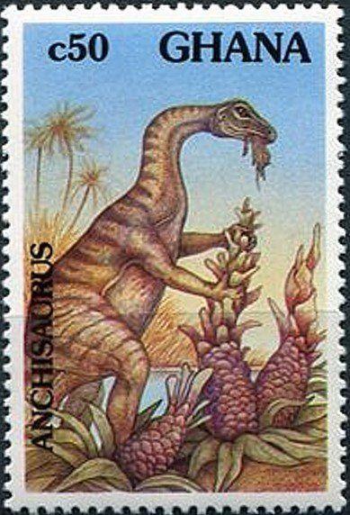 Anchisaurus Dinosaurs Prehistoric Animals Ghana 1992 Sellos Sellos Postales Estampilla Postal